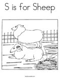 S is for Sheep Coloring Page