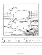 S is for Sheep Handwriting Sheet