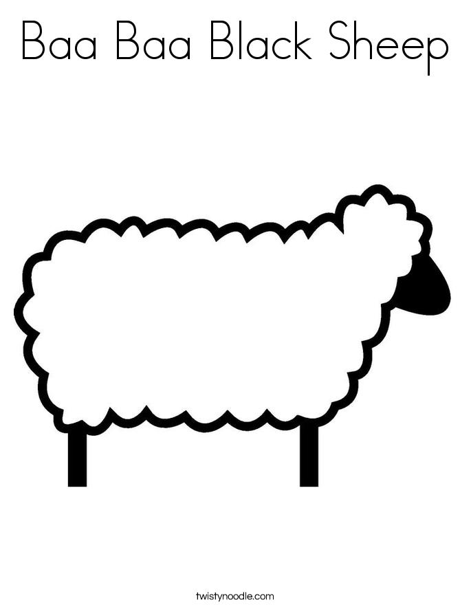 Baa Baa Black Sheep Coloring Page Twisty Noodle Baa Baa Black Sheep Coloring Page