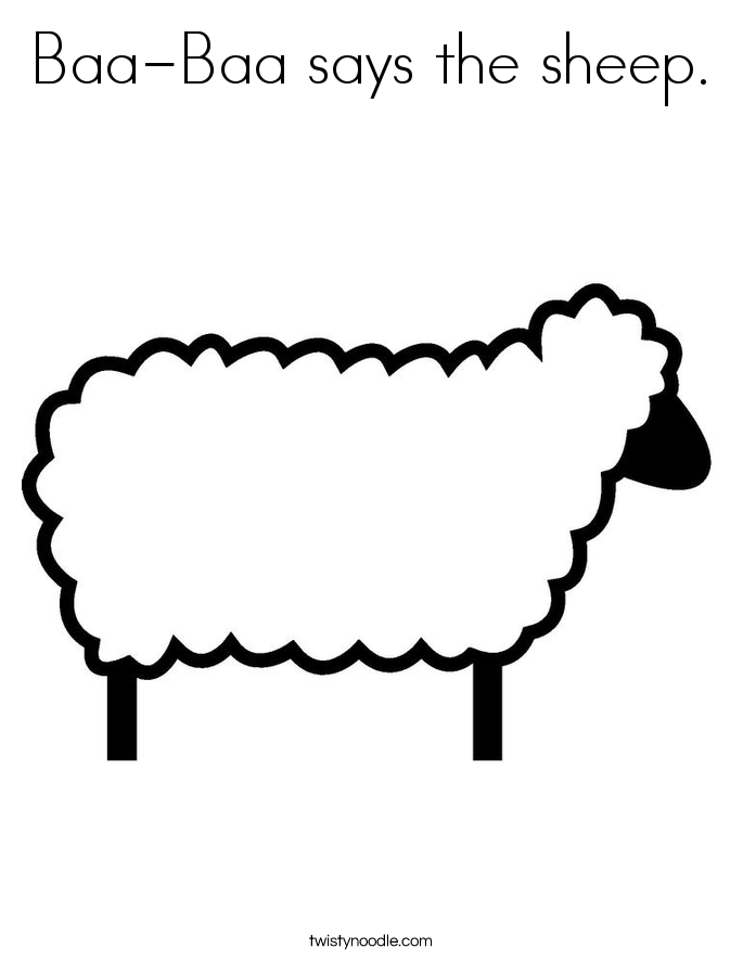 Baa baa says the sheep coloring page twisty noodle for Sheep coloring page
