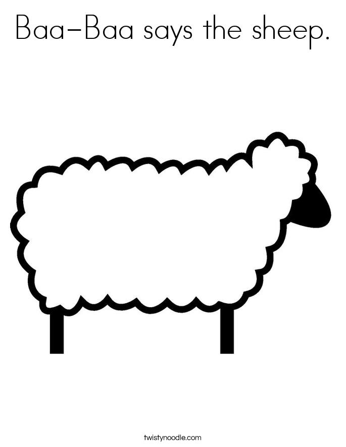 Baa-Baa says the sheep. Coloring Page