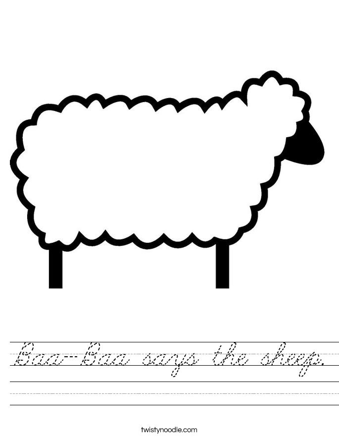 Baa-Baa says the sheep. Worksheet
