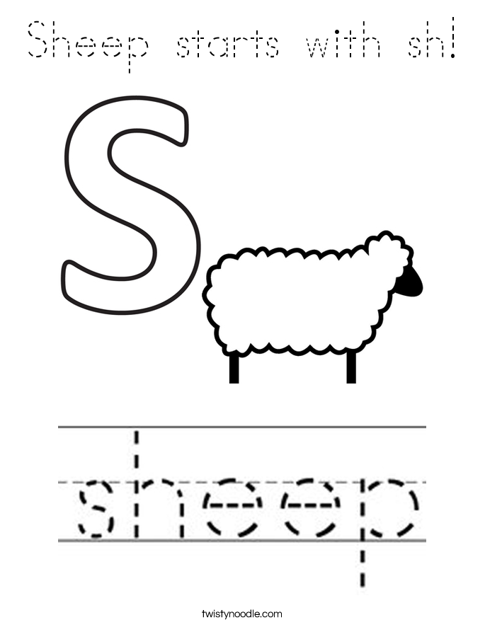 Sheep starts with sh! Coloring Page