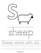 Sheep starts with sh Handwriting Sheet