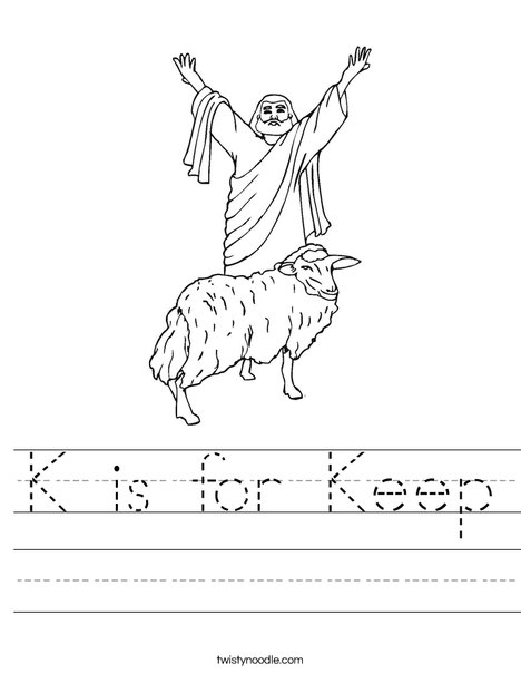Shepherd with Sheep Worksheet