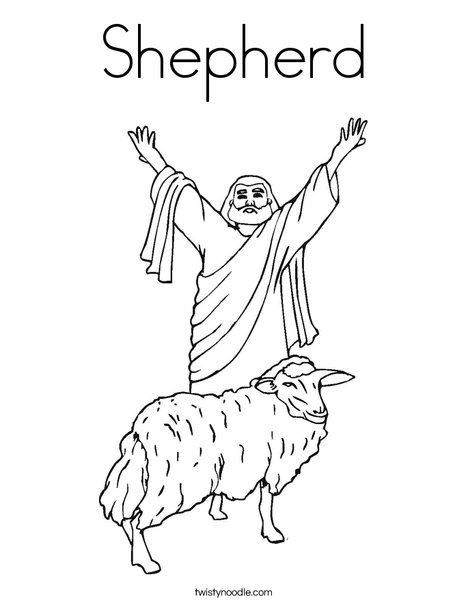 Shepherd with Sheep Coloring Page