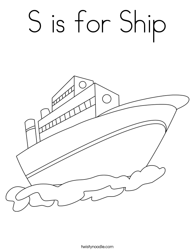 S is for Ship Coloring Page