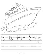 S is for Ship Handwriting Sheet