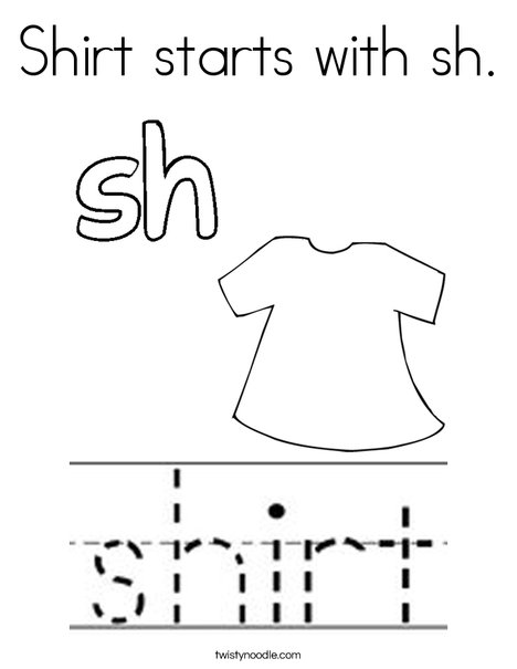 Shirt starts with sh. Coloring Page