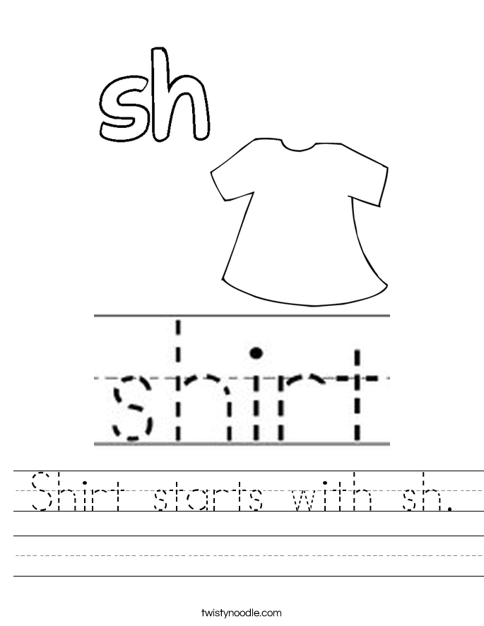 Shirt starts with sh. Worksheet