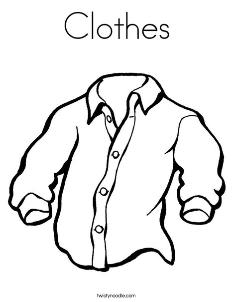 clothes coloring pages Clothes Coloring Page   Twisty Noodle clothes coloring pages
