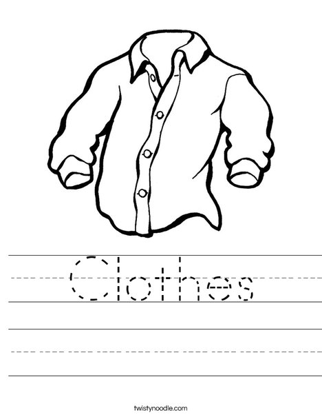 Clothes Worksheet Twisty Noodle