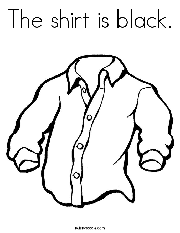 The shirt is black. Coloring Page