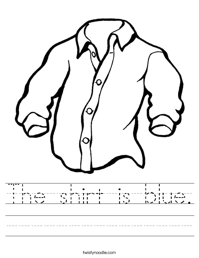 The shirt is blue. Worksheet