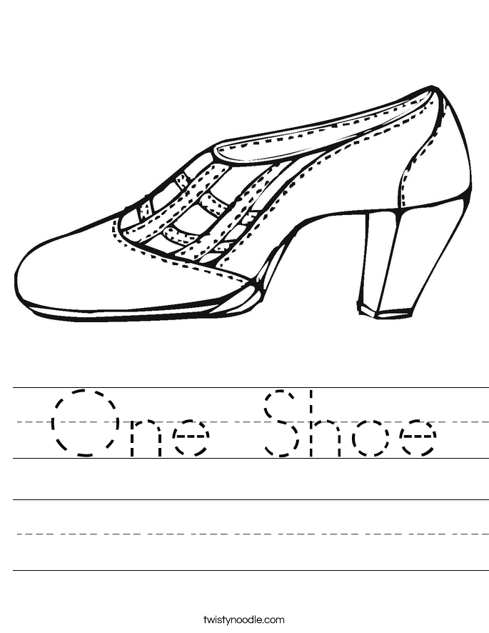 One Shoe Worksheet