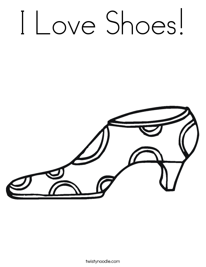 I Love Shoes! Coloring Page