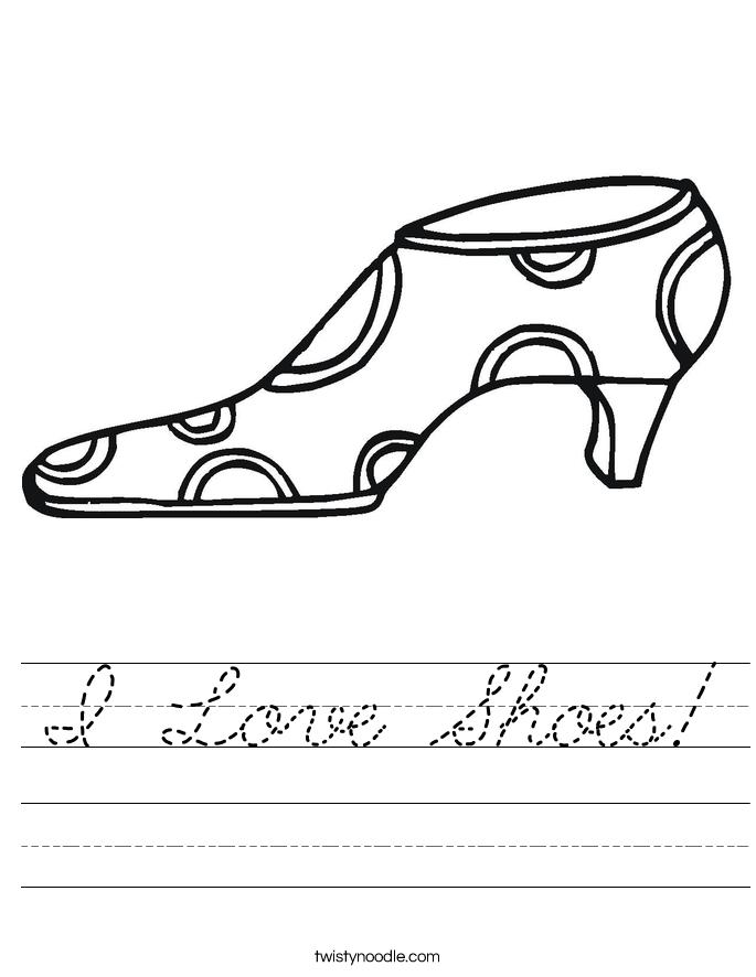 I Love Shoes! Worksheet