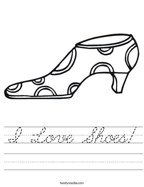Shoe with Polka Dots Worksheet