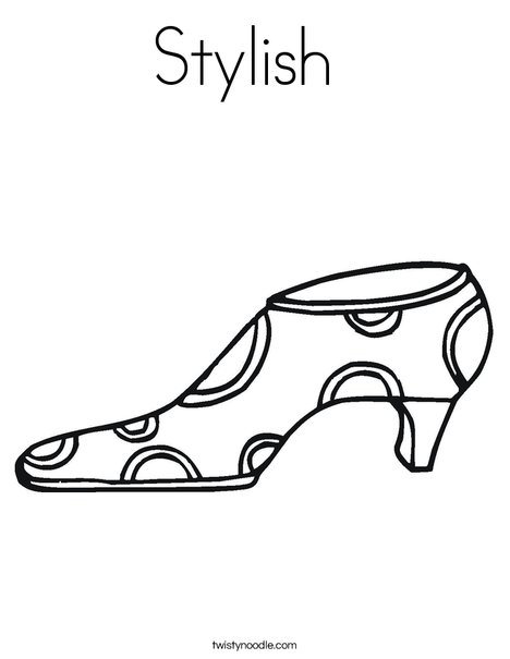 Shoe with Polka Dots Coloring Page
