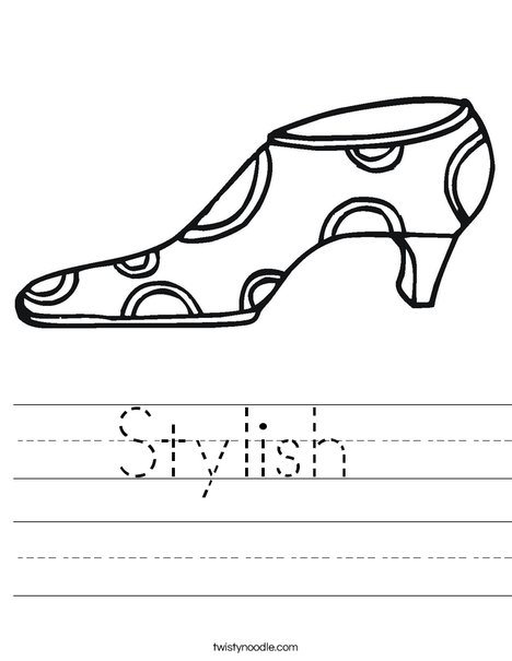 Shoe with Polka Dots Worksheet