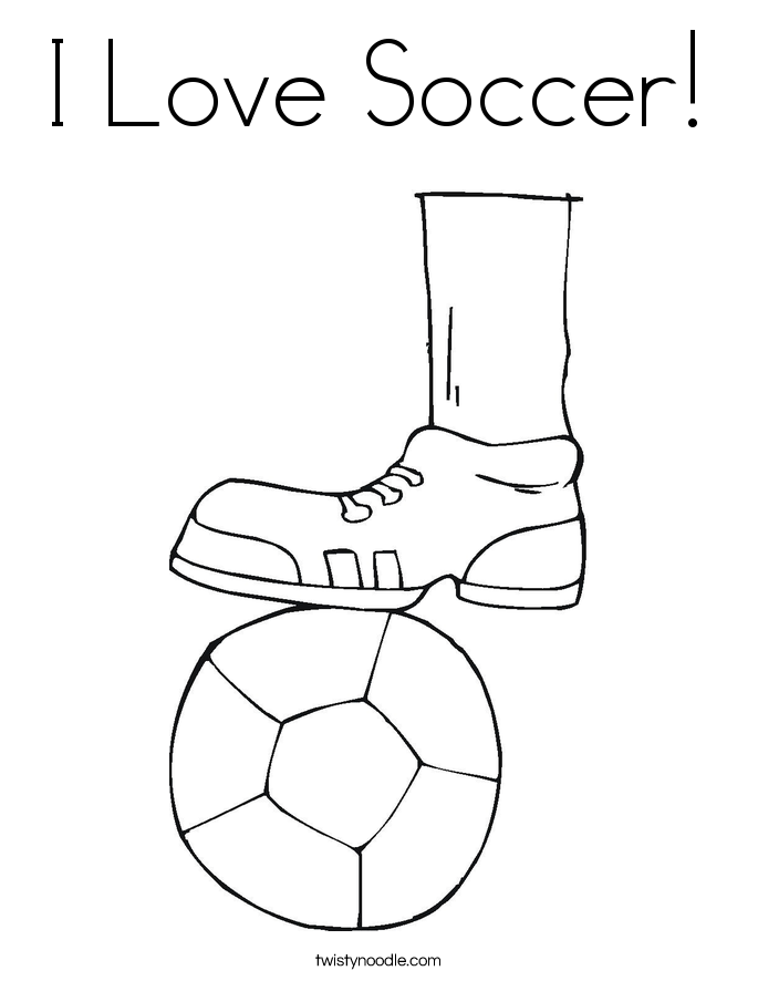 I Love Soccer Coloring Page Twisty Noodle