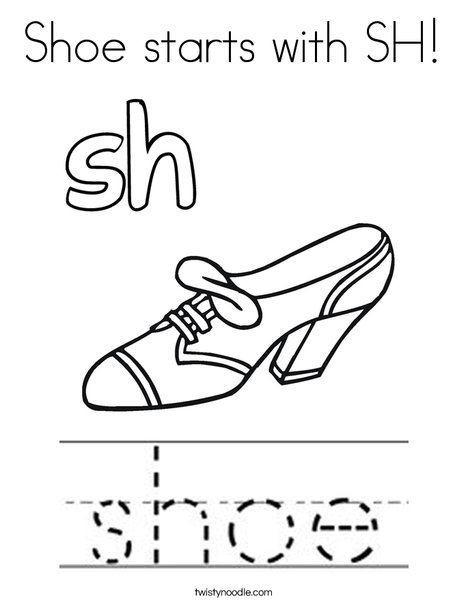 Shoe starts with sh! Coloring Page