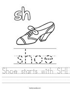 Shoe starts with SH Handwriting Sheet