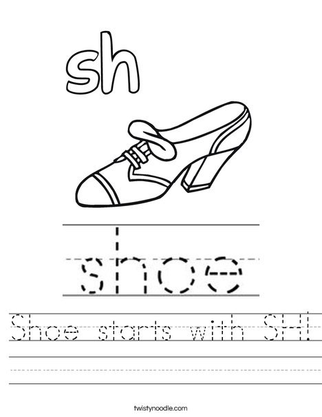 Shoe starts with sh! Worksheet