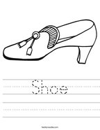 Shoe Handwriting Sheet