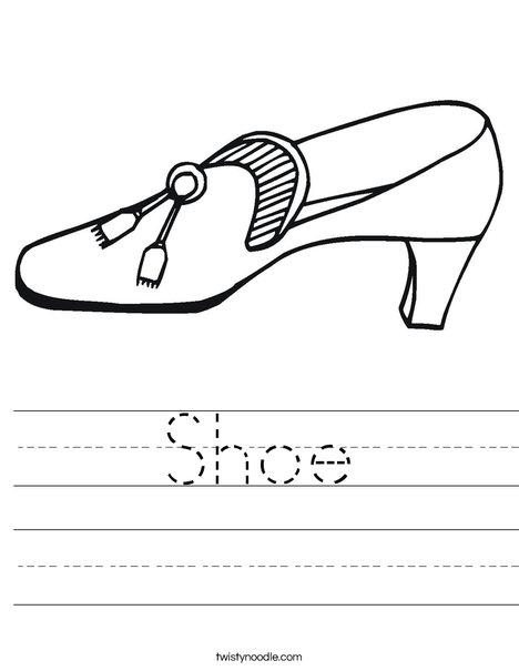 Shoe with Tassel Worksheet