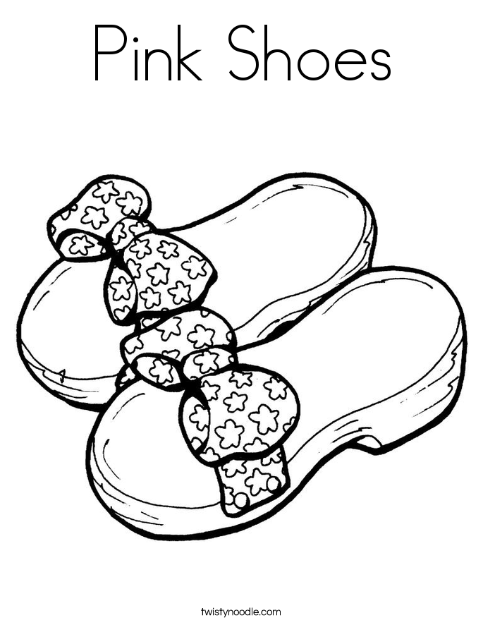 Pink Shoes Coloring Page