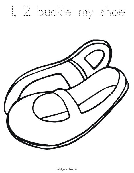 1 2 buckle my shoe Coloring Page  Twisty Noodle