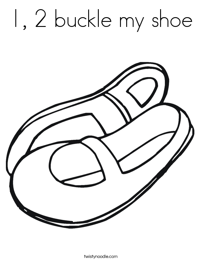1, 2 buckle my shoe Coloring Page
