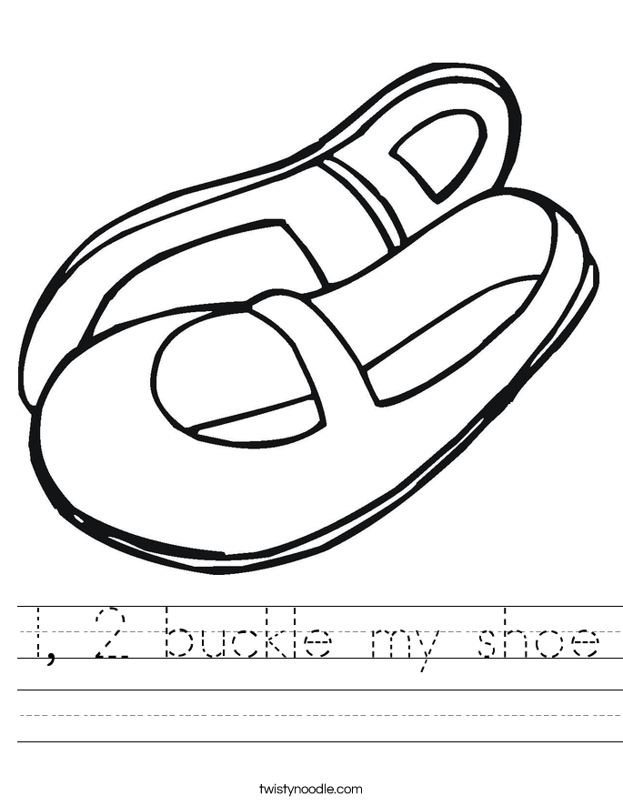 1, 2 buckle my shoe Worksheet