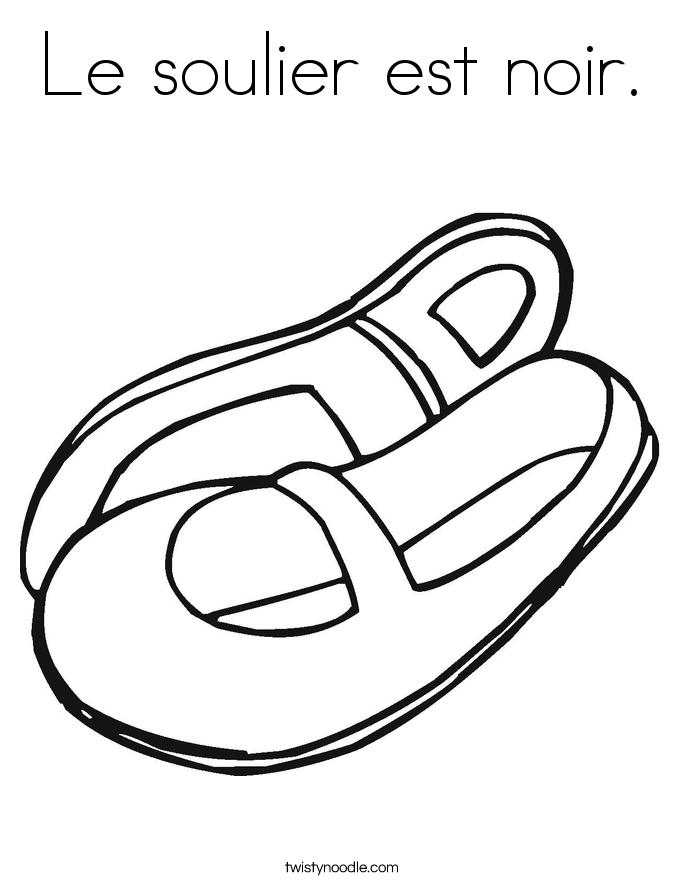 Le soulier est noir. Coloring Page