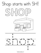 Shop starts with SH Coloring Page