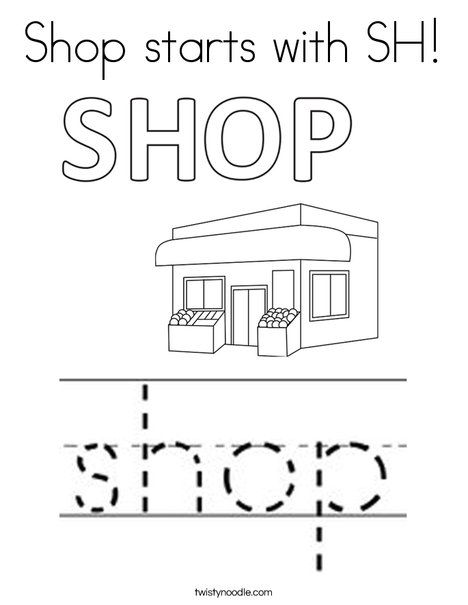 Shop starts with SH! Coloring Page