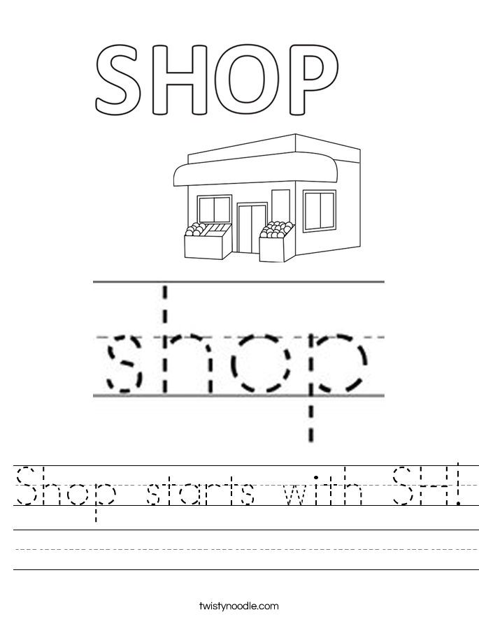 Shop starts with SH! Worksheet