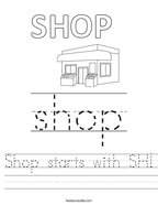Shop starts with SH Handwriting Sheet