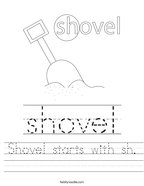 Shovel starts with sh Handwriting Sheet