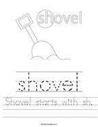 Shovel starts with sh Handwriting Sheet