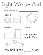 Sight Word- And Coloring Page