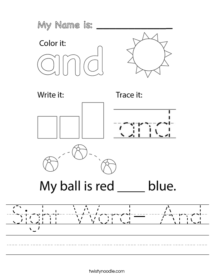 Sight Word- And Worksheet