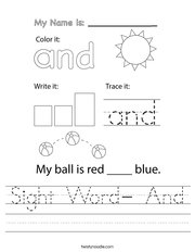 Sight Word- And Handwriting Sheet