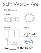 Sight Word- Are Coloring Page