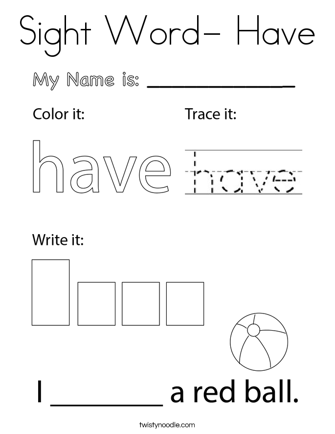 Sight Word- Have Coloring Page