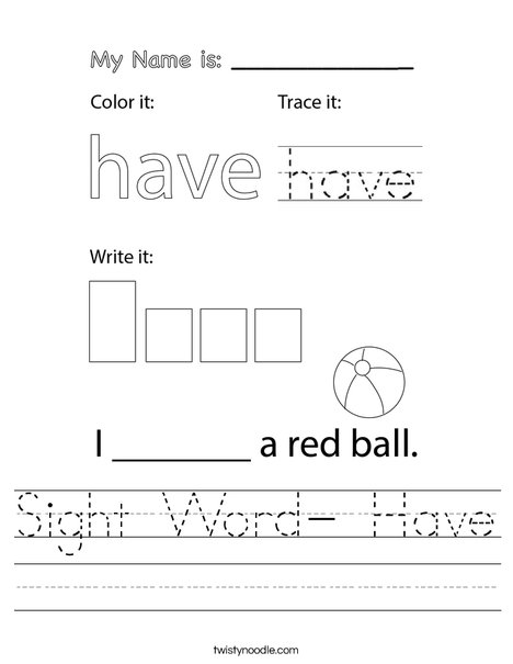 Sight Word- Have Worksheet