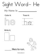 Sight Word- He Coloring Page