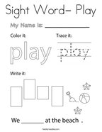 Sight Word- Play Coloring Page