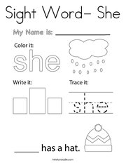 Sight Word- She Coloring Page
